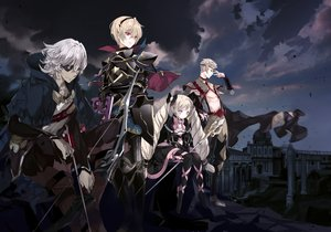 Rating: Safe Score: 46 Tags: armor blonde_hair book bow building clouds dress elise_(fire_emblem) eyepatch fire_emblem fire_emblem_fates fire_emblem_if gray_hair group headband male pink_eyes ra-bit red_eyes short_hair sky tagme_(character) thighhighs User: RyuZU
