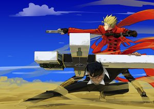 Rating: Safe Score: 65 Tags: all_male black_hair blonde_hair cigarette cross glasses gloves gun male nicholas_d_wolfwood open_shirt smoking sunglasses trigun vash_the_stampede weapon User: Dust