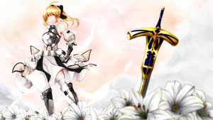 Rating: Safe Score: 55 Tags: armor blonde_hair fate/stay_night flowers green_eyes mayura_90 saber saber_lily sword thighhighs weapon User: opai