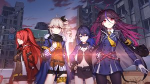 Rating: Safe Score: 78 Tags: blue_eyes blue_hair breasts brown_eyes building car city clouds dress gloves honkai_impact long_hair navel pantyhose ponytail red_eyes red_hair ruins scarf shorts skirt sky sougishi_ego tagme_(character) tattoo tie User: RyuZU