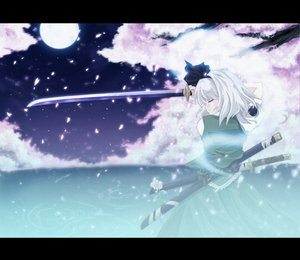 Rating: Safe Score: 51 Tags: cherry_blossoms katana konpaku_youmu moon sword touhou weapon User: w7382001