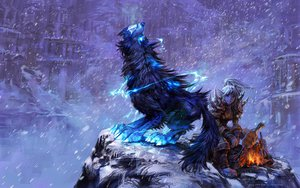 Rating: Safe Score: 75 Tags: animal armor blue_eyes orc signed snow world_of_warcraft yaorenwo User: Wiresetc