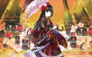 Rating: Safe Score: 33 Tags: black_hair blue_eyes building city flowers japanese_clothes kimono lolita_fashion long_hair tagme_(artist) umbrella User: RyuZU