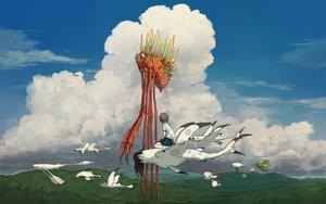 Rating: Safe Score: 34 Tags: animal bird clouds original sky yuu-rin User: FormX