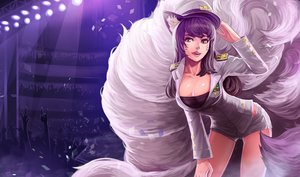 Rating: Safe Score: 45 Tags: ahri_(league_of_legends) animal_ears breasts cleavage fang foxgirl goomrrat hat league_of_legends multiple_tails purple_hair shorts tail uniform yellow_eyes User: mattiasc02
