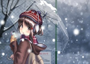 Rating: Safe Score: 53 Tags: blush earmuffs hat original phone sarekoube scarf snow umbrella winter User: Flandre93