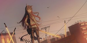 Rating: Safe Score: 53 Tags: animal_ears arknights brown_eyes brown_hair building chihuri405 long_hair pantyhose shorts sky sunset sword tail texas_(arknights) weapon User: BattlequeenYume