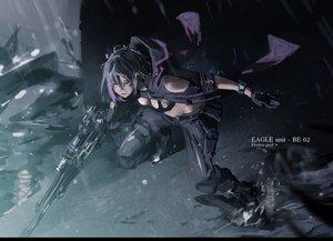 Rating: Safe Score: 58 Tags: black_hair boots breasts gloves gun original pink_eyes shiroi_suzume short_hair weapon User: RyuZU