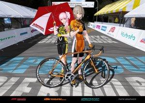 Rating: Safe Score: 17 Tags: bicycle bike_shorts gloves hitomi_kazuya male original pink_hair shorts skintight watermark User: gnarf1975
