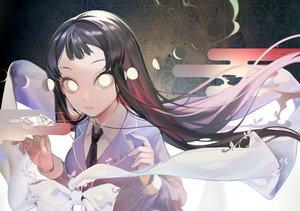 Rating: Safe Score: 50 Tags: black_hair bow long_hair marchen_madchen moon ribbons school_uniform tie tsuchimikado_shizuka wntame User: otaku_emmy