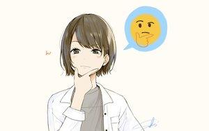 Rating: Safe Score: 98 Tags: blush brown_eyes brown_hair original parody sako_(user_ndpz5754) short_hair signed User: RyuZU