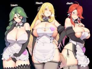 Rating: Questionable Score: 76 Tags: apron blonde_hair blush braids breast_hold breasts cleavage elbow_gloves erect_nipples glasses gloves gray_eyes green_eyes green_hair hakai_shin kanna_(pokemon) long_hair momi_(pokemon) no_bra panties pokemon ponytail red_eyes red_hair shirona skirt_lift thighhighs underwear User: otaku_emmy