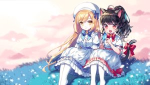 Rating: Safe Score: 29 Tags: 2girls aliasing animal animal_ears bell bird black_hair blonde_hair bow catgirl dress grass hat lolita_fashion long_hair mechuragi original ponytail red_eyes tail yellow_eyes User: RyuZU
