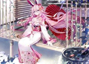 Rating: Safe Score: 129 Tags: amatsukiryoyu animal animal_ears bunny_ears fish honkai_impact japanese_clothes long_hair pink_hair purple_eyes umbrella water yae_sakura_(benghuai_xueyuan) User: RyuZU