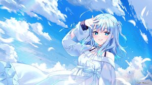 Rating: Safe Score: 63 Tags: aliasing amatsuka_uto amatsuka_uto_(channel) aqua_eyes aqua_hair blush clouds dress feathers rosuuri sky watermark User: BattlequeenYume