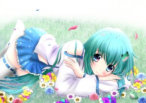 Rating: Safe Score: 129 Tags: flowers grass green_hair hiiragi-qualia japanese_clothes kochiya_sanae miko short_hair thighhighs touhou User: RyuZU