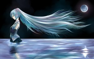 Rating: Safe Score: 71 Tags: aqua_hair hatsune_miku long_hair moon totuka vocaloid water wet User: w7382001