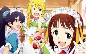 Rating: Safe Score: 32 Tags: amami_haruka ganaha_hibiki hoshii_miki idolmaster maid megami scan User: meccrain