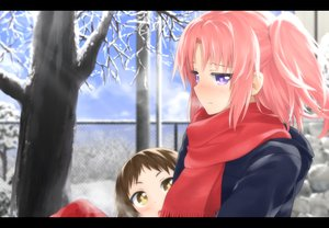 Rating: Safe Score: 149 Tags: blush haribote_(tarao) mikakunin_de_shinkoukei mitsumine_mashiro pink_hair scarf yonomori_kobeni User: FormX