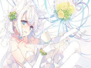 Rating: Safe Score: 114 Tags: animal animal_ears aqua_eyes bell breasts cat catgirl cleavage collar dress elbow_gloves fang flowers gloves reia ribbons rose tail thighhighs wedding_attire white_hair User: BattlequeenYume