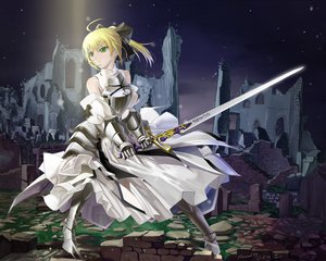 Rating: Safe Score: 180 Tags: armor artoria_pendragon_(all) blonde_hair bow dress fate_(series) fate/stay_night fate/zero green_eyes jpeg_artifacts okingjo saber sword weapon User: opai