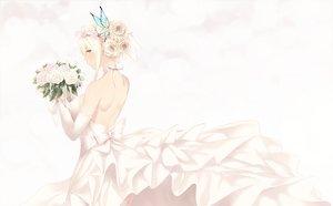 Rating: Safe Score: 145 Tags: aqua_eyes blonde_hair boku_wa_tomodachi_ga_sukunai bow braids butterfly cait dress flowers kashiwazaki_sena rose short_hair wedding_attire white User: RyuZU