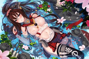 Rating: Questionable Score: 66 Tags: anthropomorphism blush breasts brown_hair flowers garter kantai_collection navel nipples petals ponytail red_eyes see_through sekigan skirt thighhighs torn_clothes waifu2x water yamato_(kancolle) User: RyuZU