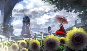 Rating: Safe Score: 80 Tags: boots clouds flowers kazami_yuuka landscape leaves ryosios scenic skirt touhou tree umbrella windmill User: Flandre93