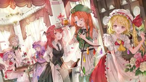 Rating: Safe Score: 45 Tags: aliasing apron blonde_hair chinese_clothes demon drink flandre_scarlet flowers food group hat hong_meiling izayoi_sakuya koakuma long_hair maid patchouli_knowledge piyo_(sqn2idm751) red_eyes red_hair remilia_scarlet rose shirt suit tie touhou vampire wings wink User: BattlequeenYume