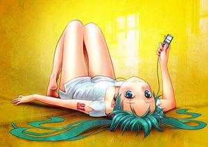 Rating: Safe Score: 225 Tags: aqua_eyes aqua_hair hatsune_miku headphones ipod long_hair shorts tattoo twintails vocaloid wokada yellow User: HawthorneKitty