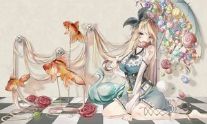 Rating: Safe Score: 54 Tags: animal blonde_hair candy corset fish flowers headband lollipop long_hair original rose tagme_(artist) tattoo umbrella User: BattlequeenYume