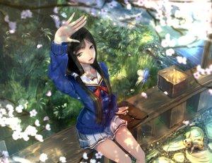 Rating: Safe Score: 122 Tags: animal black_hair butterfly cat cherry_blossoms flowers grass kikivi long_hair original school_uniform skirt spring User: FormX