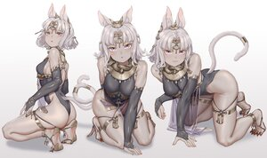 Rating: Safe Score: 74 Tags: animal animal_ears ass bell catgirl cat_smile dark_skin elbow_gloves fangxiang_cuoluan garter gloves gradient gray_hair headdress leotard necklace original purple_eyes see_through short_hair snake tail User: Dreista