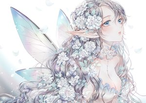 Rating: Safe Score: 65 Tags: breasts cleavage close dekitani fairy flowers original pointed_ears polychromatic wings User: BattlequeenYume