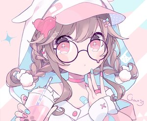 Rating: Safe Score: 39 Tags: animal_ears bandaid braids brown_hair choker chon_(chon33v) close cropped drink glasses hat hoodie original polychromatic red_eyes short_hair signed twintails User: otaku_emmy