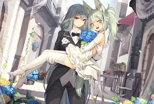 Rating: Safe Score: 61 Tags: 2girls animal_ears arknights blush building elbow_gloves flowers gloves grani_(arknights) gray_eyes gray_hair green_hair jakoujika long_hair red_eyes shoujo_ai skadi_(arknights) wedding wedding_attire User: BattlequeenYume