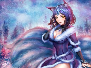 Rating: Safe Score: 194 Tags: ahri_(league_of_legends) animal_ears blue blue_hair breasts chanseven cleavage foxgirl league_of_legends multiple_tails signed tail tiara tree yellow_eyes User: ssagwp