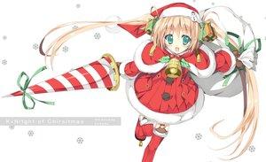 Rating: Safe Score: 54 Tags: bell blonde_hair christmas green_eyes hat long_hair original santa_costume santa_hat shimesaba_kohada spear twintails weapon User: Shupa