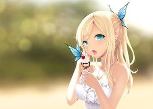 Rating: Safe Score: 620 Tags: aqua_eyes blonde_hair boku_wa_tomodachi_ga_sukunai butterfly cait cherry chocolate food fruit ice_cream kashiwazaki_sena ponytail User: RyuZU