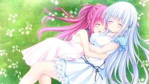Rating: Safe Score: 67 Tags: 2girls grass hug katou_umi kouduki_miyabi naruse_shiroha summer_pockets User: aaayu