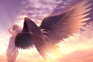 Rating: Safe Score: 68 Tags: clouds dress gray_hair green_eyes long_hair original ryouku see_through sky summer_dress sunset wings User: BattlequeenYume