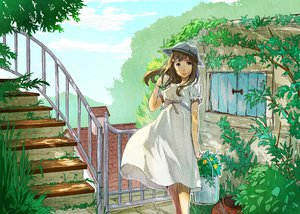 Rating: Safe Score: 81 Tags: daishou dress flowers hat leaves original tree User: opai