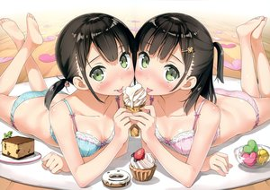 Rating: Questionable Score: 372 Tags: 5_nenme_no_houkago barefoot black_hair blush bra breasts cake cleavage food green_eyes ice_cream kantoku original panties scan twins twintails underwear User: Wiresetc
