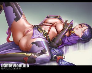 Rating: Explicit Score: 140 Tags: armor ass breast_hold breasts censored dantewontdie elbow_gloves fate/grand_order fate_(series) gloves gradient jpeg_artifacts long_hair minamoto_no_yorimitsu_(fate) navel nipples purple_eyes purple_hair pussy rope skintight spread_legs watermark User: BattlequeenYume
