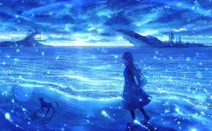 Rating: Safe Score: 52 Tags: animal blue bou_nin cat clouds long_hair original polychromatic scenic sky water User: mattiasc02