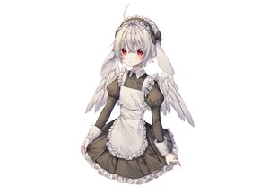 Rating: Safe Score: 40 Tags: albinoraccoon all_male animal_ears apron bow bunny_ears gray_hair headdress maid male original pointed_ears red_eyes short_hair signed trap white wings User: otaku_emmy