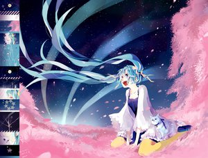 Rating: Safe Score: 70 Tags: animal cat cherry_blossoms hatsune_miku kotoma petals stars vocaloid User: FormX
