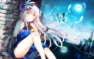 Rating: Safe Score: 144 Tags: bang_dream! building butterfly elbow_gloves gloves headdress jpeg_artifacts long_hair masa_(mirage77) minato_yukina moon signed sky stars white_hair yellow_eyes User: BattlequeenYume
