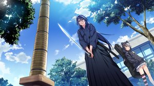 Rating: Safe Score: 17 Tags: aoi_haruto blue_hair clouds front_wing game_cg gray_hair grisaia:_phantom_trigger hoodie japanese_clothes katana long_hair male shishigaya_touka sky sword thighhighs tree watanabe_akio weapon User: RyuZU