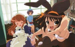 Rating: Safe Score: 49 Tags: animal_ears asahina_mikuru bunny_ears bunnygirl cosplay leotard maid nagato_yuki nurse suzumiya_haruhi suzumiya_haruhi_no_yuutsu User: pantu